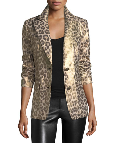 Plus Size Leopard-Print Coated Blazer