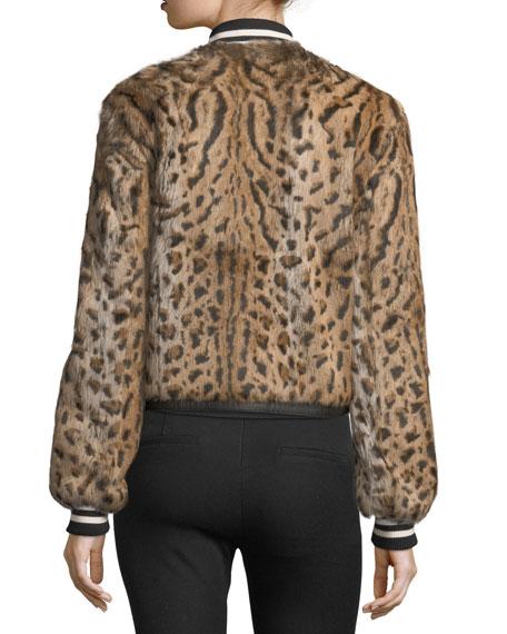 Etta Leopard-Print Fur Bomber Jacket