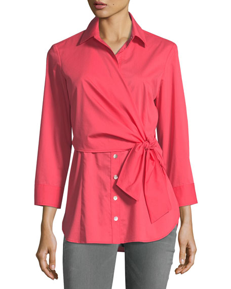 Finley Raleigh Side-Tie Poplin Blouse