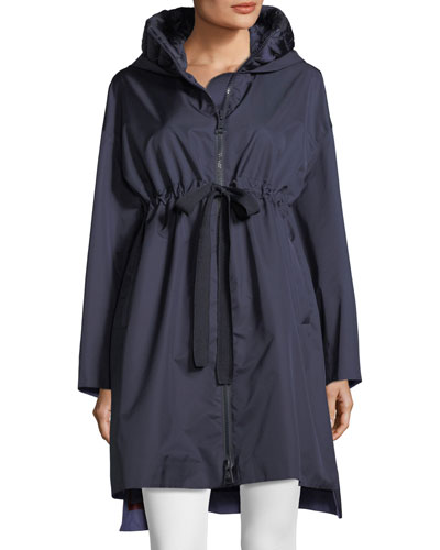 Aigue Self-Tie Trench Coat w/ Hood