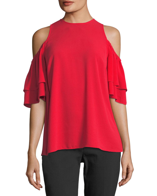 0a07cc24b869f MICHAEL Michael Kors Cold-Shoulder Flounce-Sleeve Top