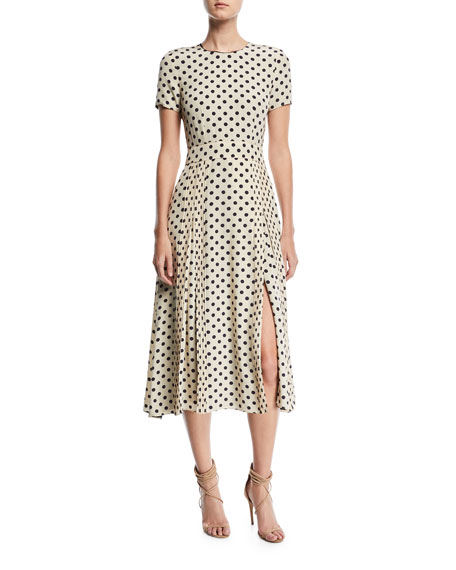 Burberry Short-Sleeve Dotted Long Dress