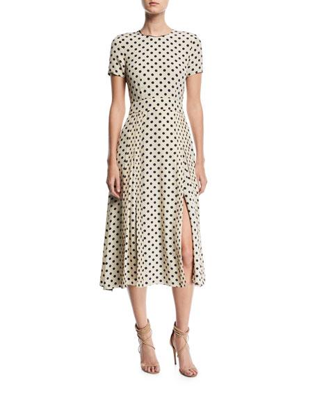 Burberry Short-Sleeve Dotted Long Dress