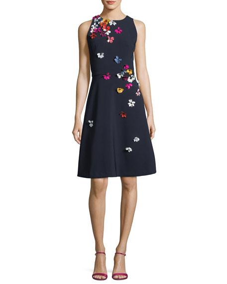 Cutaway Sleeveless 3D Floral Dress