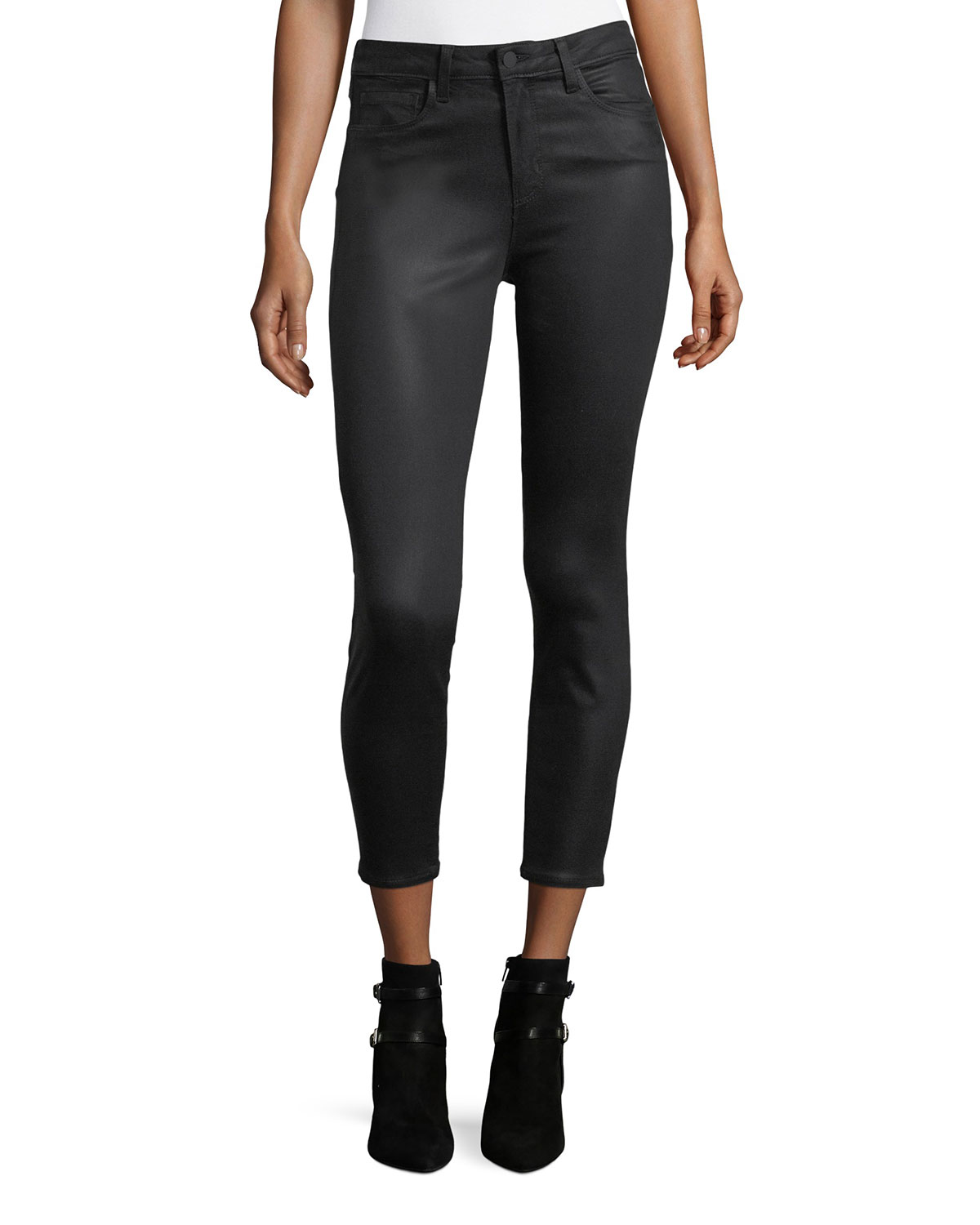 806b30d701ca86 L'Agence Margot Coated High-Rise Skinny Ankle Jeans | Neiman Marcus