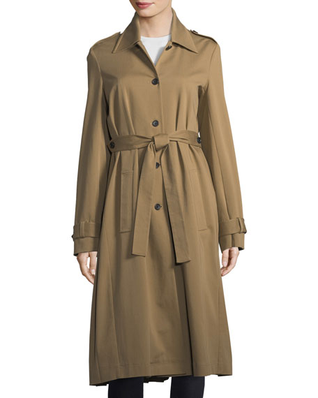 Pleated-Back Cotton Trench Coat