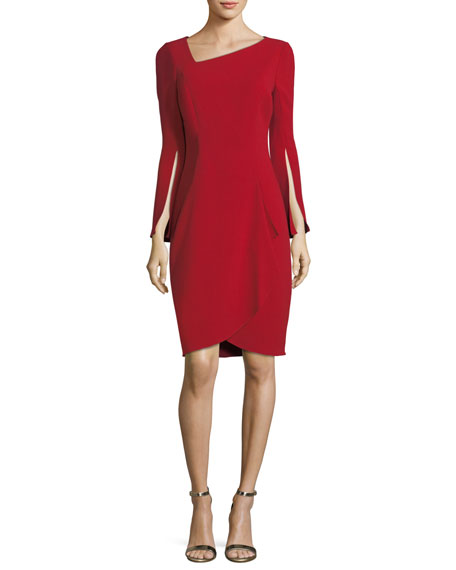 Rickie Freeman for Teri Jon Asymmetric Long-Sleeve Slit