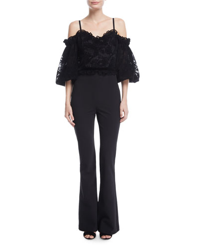 Rowen Off-the-Shoulder Lace-Top Flared-Leg Jumpsuit
