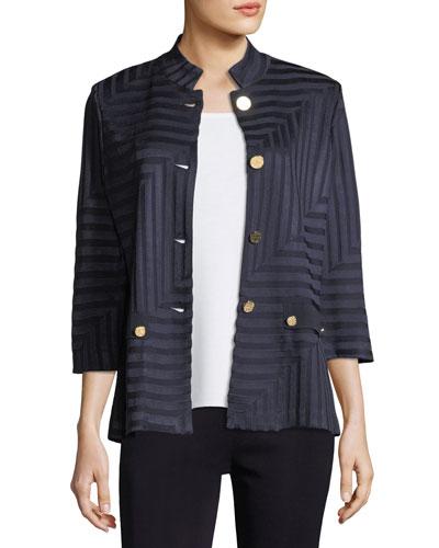 Plus Size Subtle Lines 3/4-Sleeves Jacket