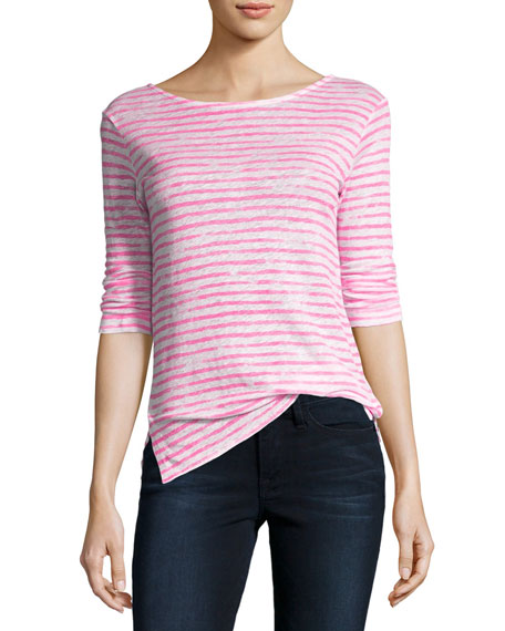 3/4-Sleeve Dyed-Stripe Linen T-Shirt