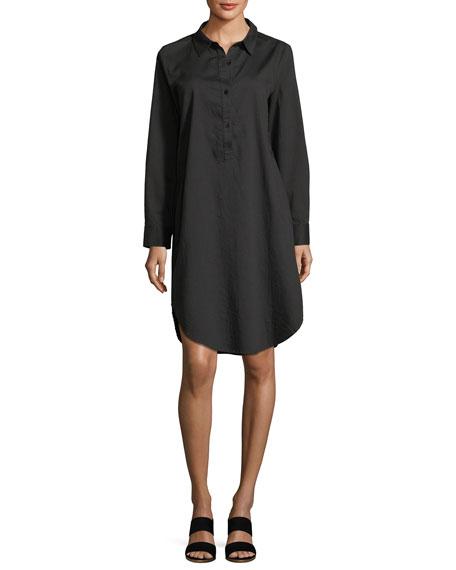 Long-Sleeve Soft Twill Henley Shirtdress