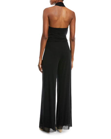 Image 3 of 3: Fuzzi Solid Halter-Strap Jumpsuit