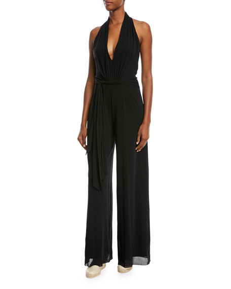 Image 1 of 3: Fuzzi Solid Halter-Strap Jumpsuit