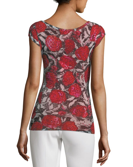 Rose-Print Cap-Sleeve Top