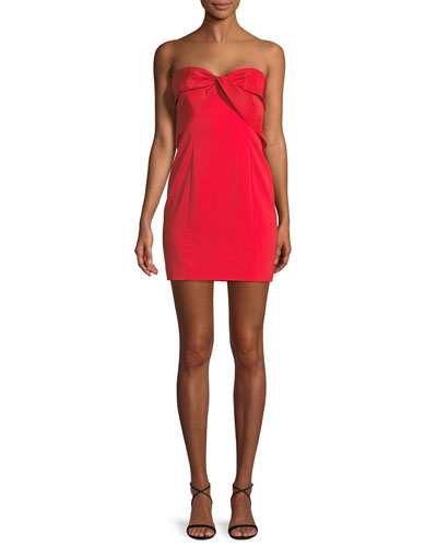 Twist-Front Strapless Mini Cocktail Dress