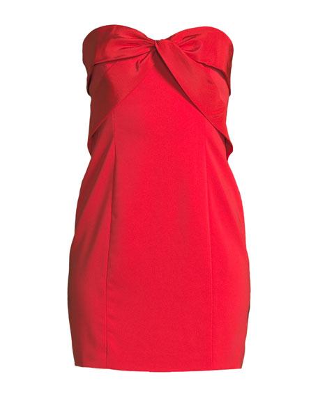 Twist-Front Strapless Mini Cocktail Dress