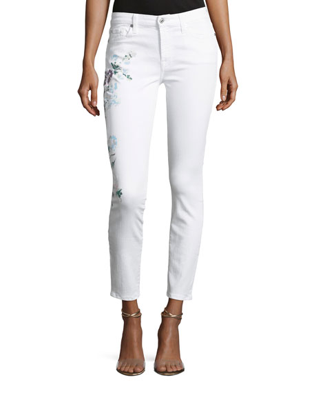 Skinny Ankle Jeans with Hand-Painted Floral