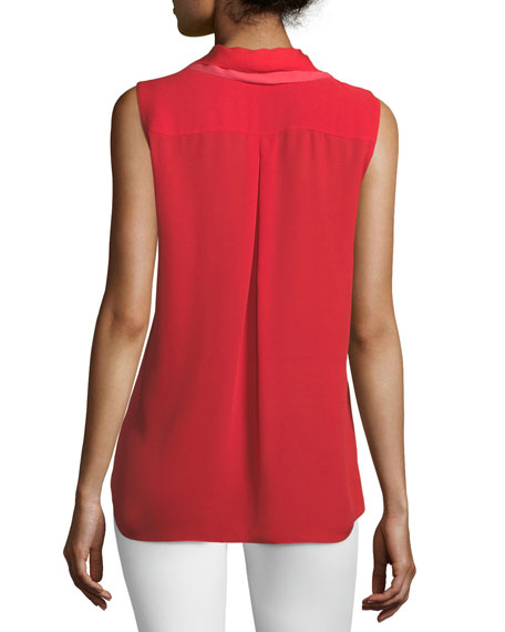 Image 2 of 2: Adreena Asymmetric Silk Ruffle Blouse