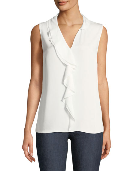 Image 1 of 2: Adreena Asymmetric Silk Ruffle Blouse