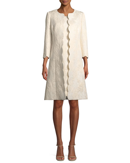 Metallic Floral-Jacquard Dress w/ Scalloped Coat