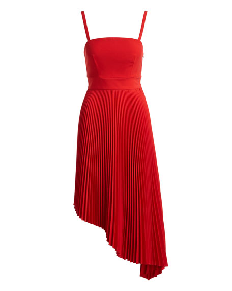 Eliza Italian Cady Pleated Asymmetric Dress