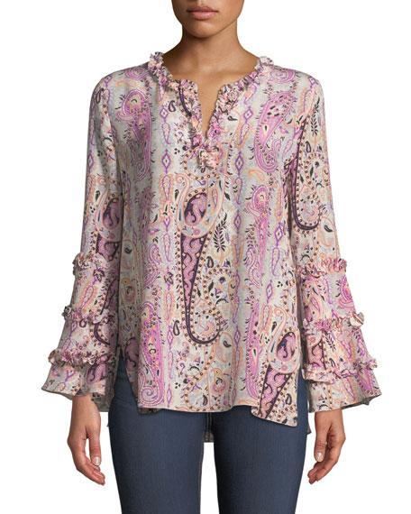 Kobi Halperin Celia Long-Sleeve Paisley Silk Blouse
