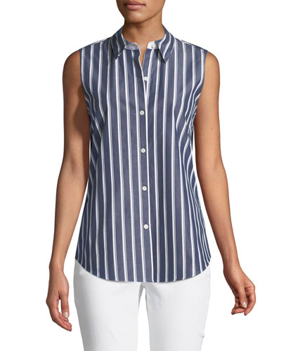 Emerie Regal Stripes Sleeveless Blouse
