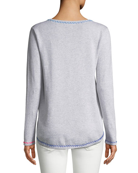 Butterfly Pullover Sweater w/ Contrast Stitching