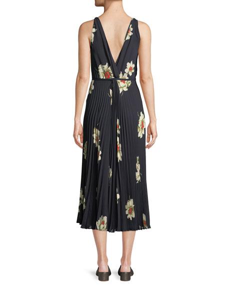 Gardenia Floral-Print Twist-Front Pleated Dress