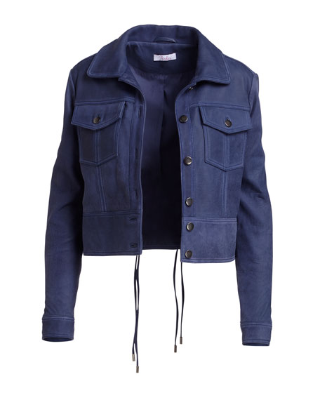 Dalva Snap-Front Suede Leather Jacket
