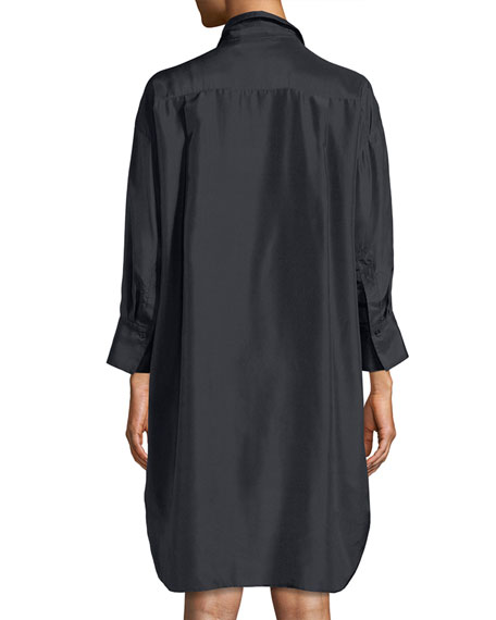 Silk Shirt Long-Sleeve Dress