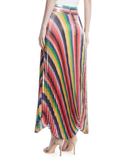 Katz Sunburst Pleated Metallic Striped Midi Skirt