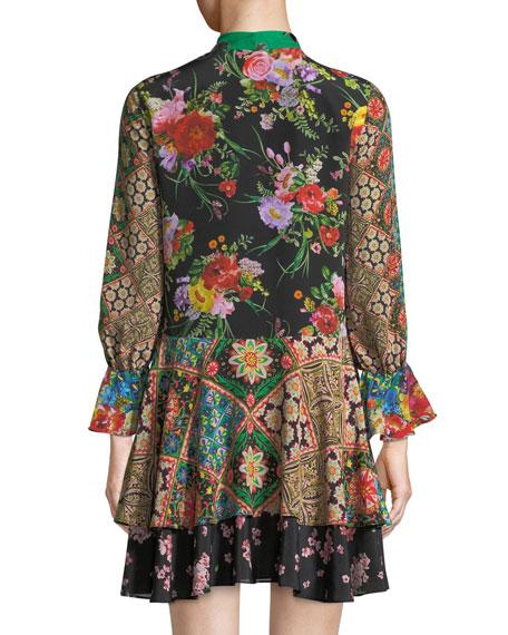 Moore V-Neck Scarf Floral-Print Silk Dress