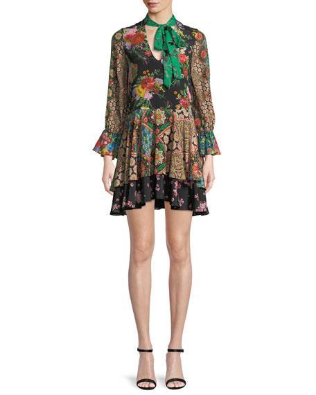 Alice + Olivia Moore V-Neck Scarf Floral-Print Silk