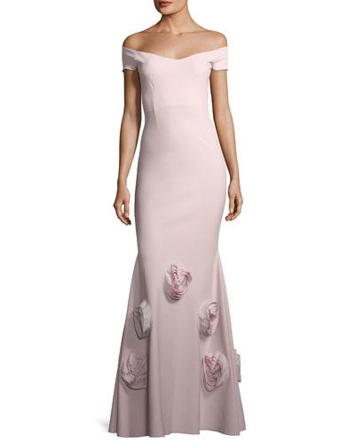 Lobelia Asymmetric Rose Cocktail Dress