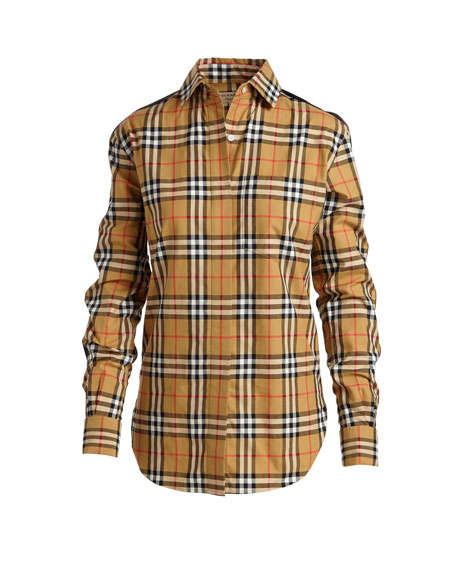 Burberry Saoirse Side-Stripe Check Shirt
