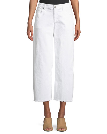 Eileen Fisher Organic Cotton Garment-Dyed Denim Wide-Leg Ankle Jeans with Raw Edges