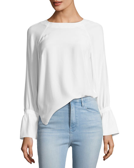 Voluminous-Cuff Silk Blouse