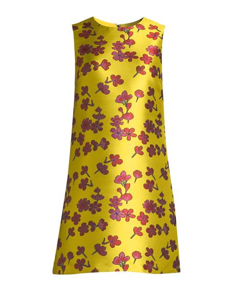 Coley Sleeveless Floral-Jacquard A-Line Dress