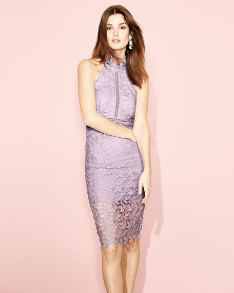 Image 2 of 4: Bardot Gemma Sleeveless Halter Lace-Guipure Cocktail Dress