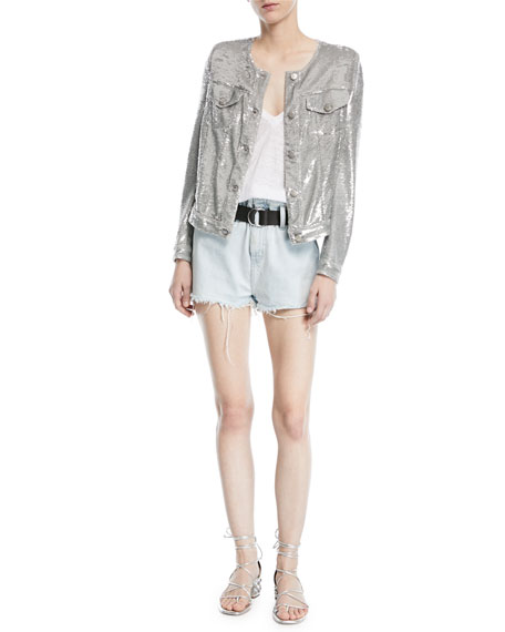 Andel Paperbag-Waist Denim Shorts