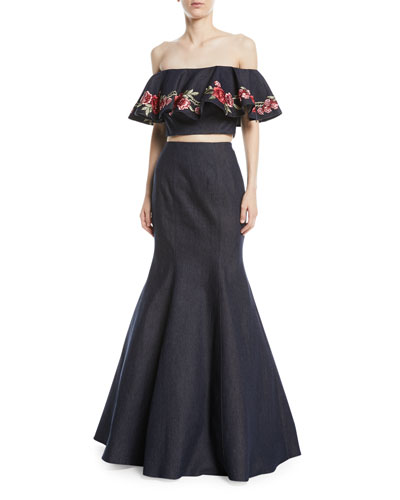 Floral Embroidery Two-Piece Denim Top and Skirt Set