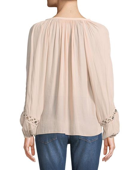 Sera V-Neck Long-Sleeve Blouse with Grommet Trim