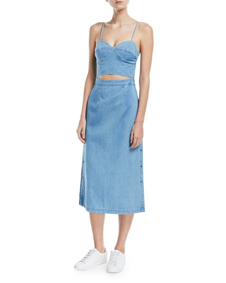 3x1 Peek-A-Boo Corset A-Line Denim Dress