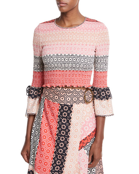 Derek Lam 10 Crosby Smocked Long-Sleeve Silk Printed
