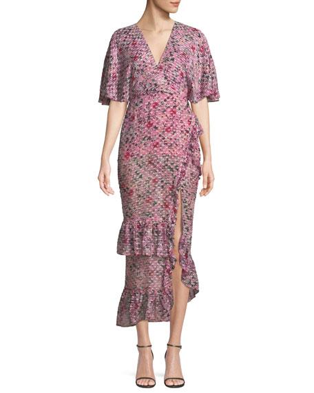 Rose V-Neck Short-Sleeve Floral-Print Devoré Cocktail Dress