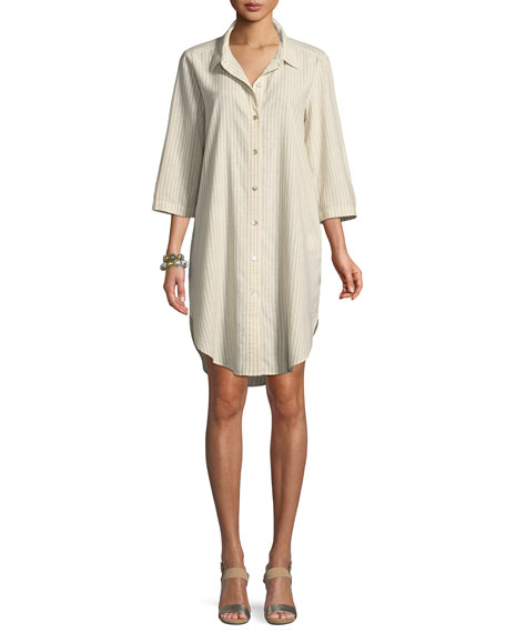 Striped Hemp-Blend Shirtdress