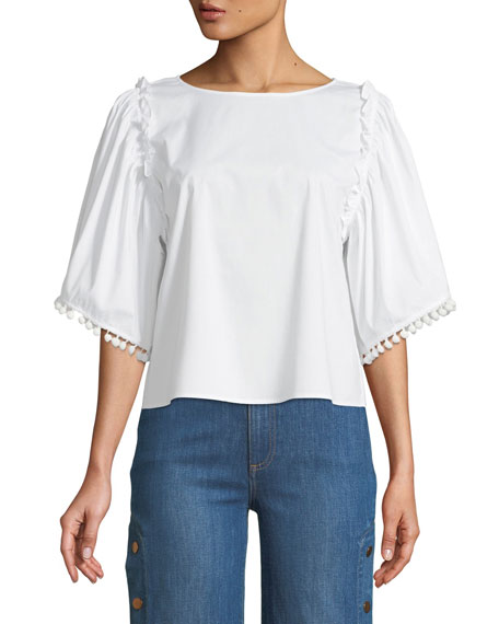 Ruffled Wide-Sleeve Top, White