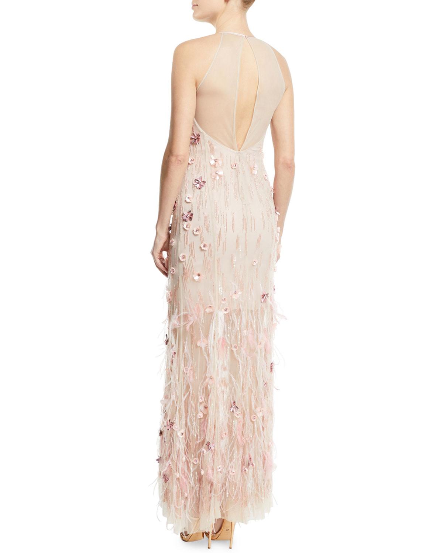c3561400a164 Elie Tahari Amia Sleeveless Embellished Feather Dress   Neiman Marcus