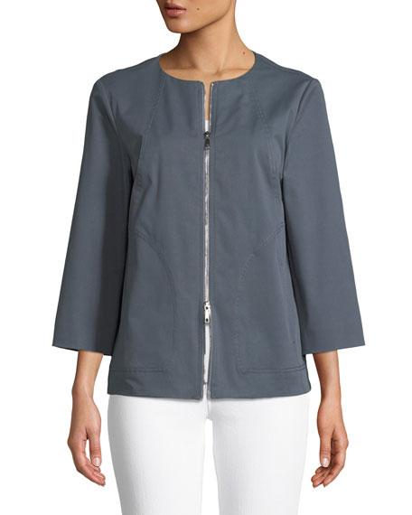 Levine Italian Gabardine Zip-Front Jacket